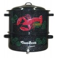 Granite Ware 19 Quart Enamel on Steel 2 Tier Decorated Clam and Lobster Steamer with Faucet